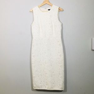 ann taylor white lace sheath white dress size 6